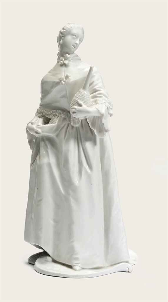 A NYMPHENBURG WHITE FIGURE OF DONNA MARTINA
