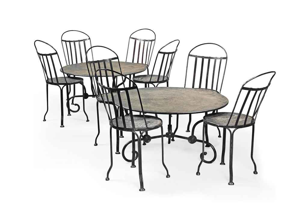 Iron Dining Chairs ~ A set of eight cast iron dining chairs and pair