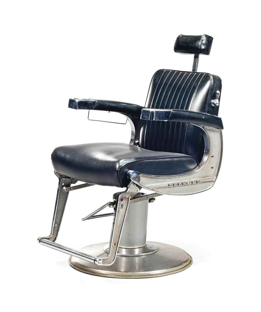 A STAINLESS STEEL AND LEATHER BARBER 39 S CHAIR CIRCA 1950S