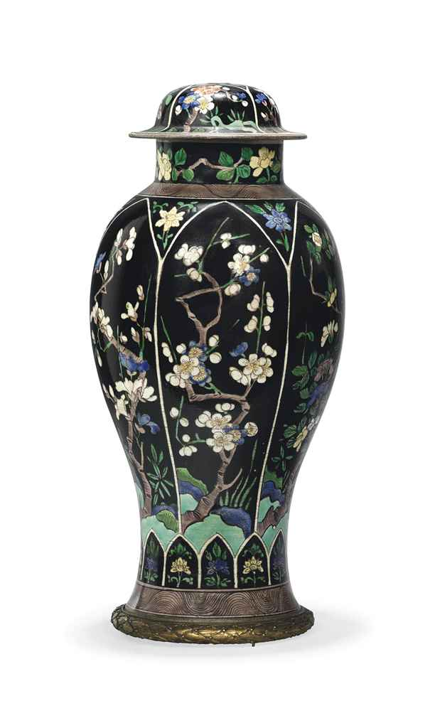 a chinese famille noir baluster vase and cover with ormolu metal base 19th century 19th. Black Bedroom Furniture Sets. Home Design Ideas