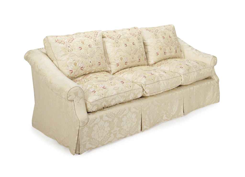 An Embroidered Cream Silk Damask Upholstered Three Seat