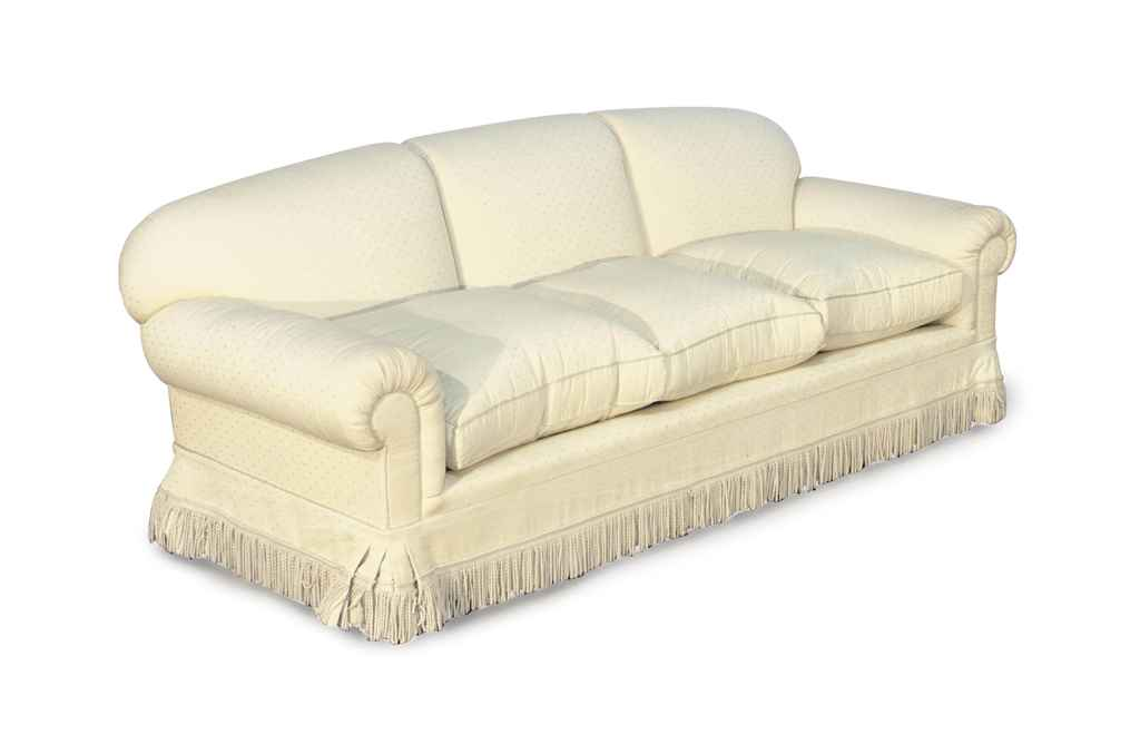 A Contemporary Cream Silk Upholstered Sofa Late 20th