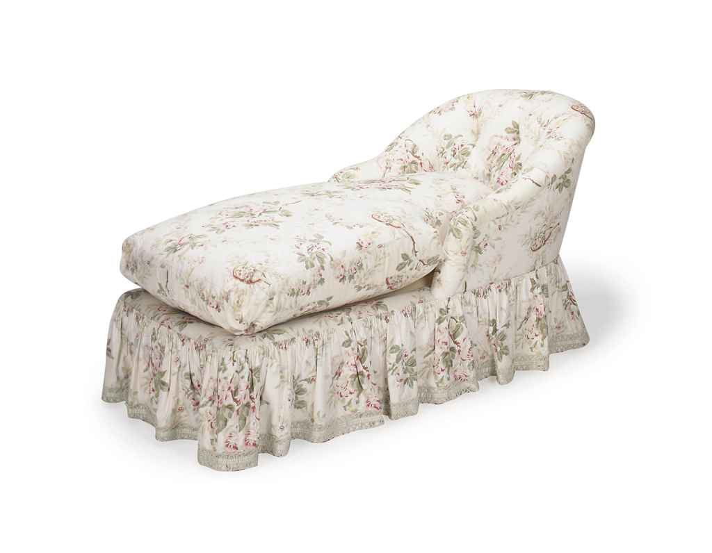 A button tufted floral cotton upholstered chaise lounge for Button tufted chaise lounge