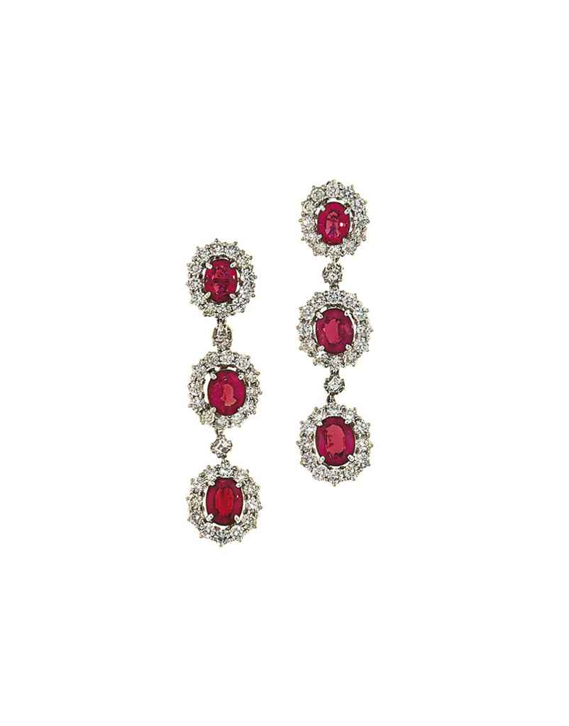 A pair of red spinel and diamond earpendants