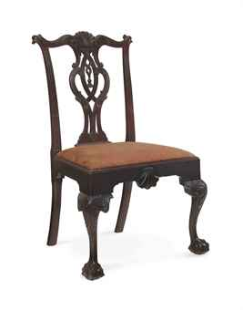 A Chippendale Carved Mahogany Tassel Back Side Chair