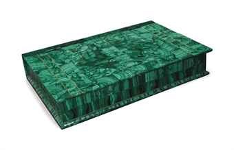 A LARGE RUSSIAN MALACHITE BOX,