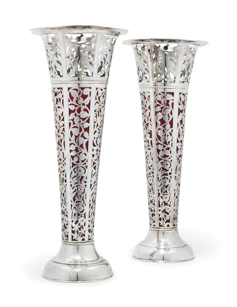 a very large pair of american silver vases stamped