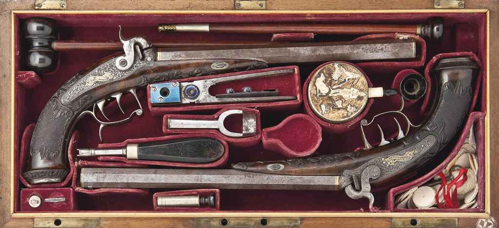 A FINE CASED PAIR OF BOHEMIAN 28-BORE PERCUSSION TARGET DUEL...