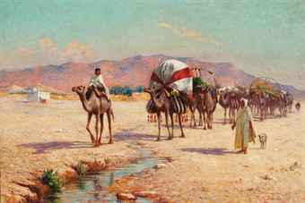 A caravan approaching a stream in Biskra
