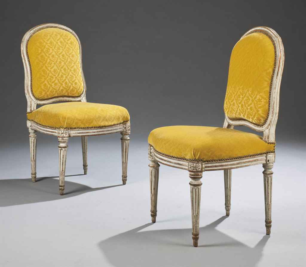 Paire de chaises a la reine d 39 epoque louis xvi dernier - Chaises louis 16 ...