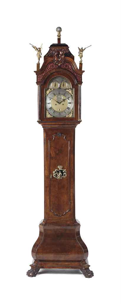 An Anglo-Dutch walnut and burr-walnut musical longcase clock...