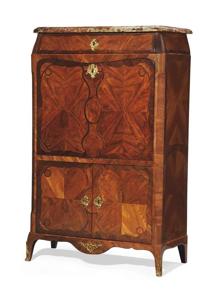 secretaire a abattant d 39 epoque louis xv estampille de pierre roussel vers 1760 christie 39 s. Black Bedroom Furniture Sets. Home Design Ideas