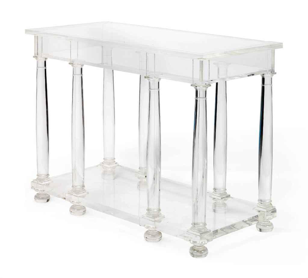 an acrylic console table