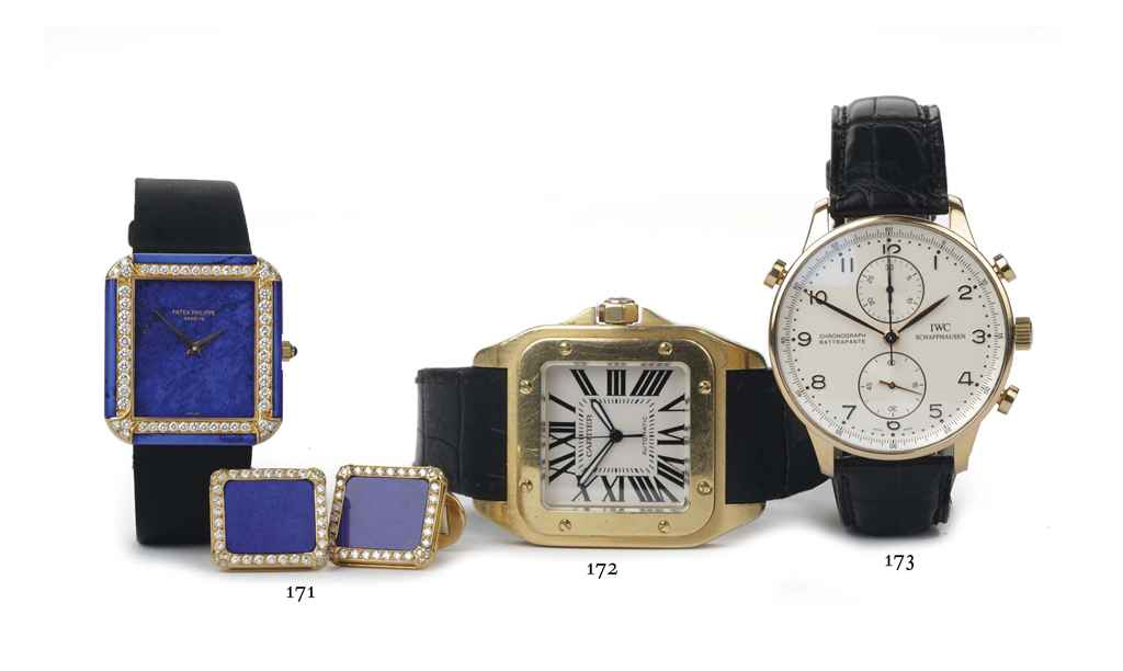 AN 18K GOLD, LAPIS LAZULI AND DIAMOND-SET WRISTWATCH AND MAT...
