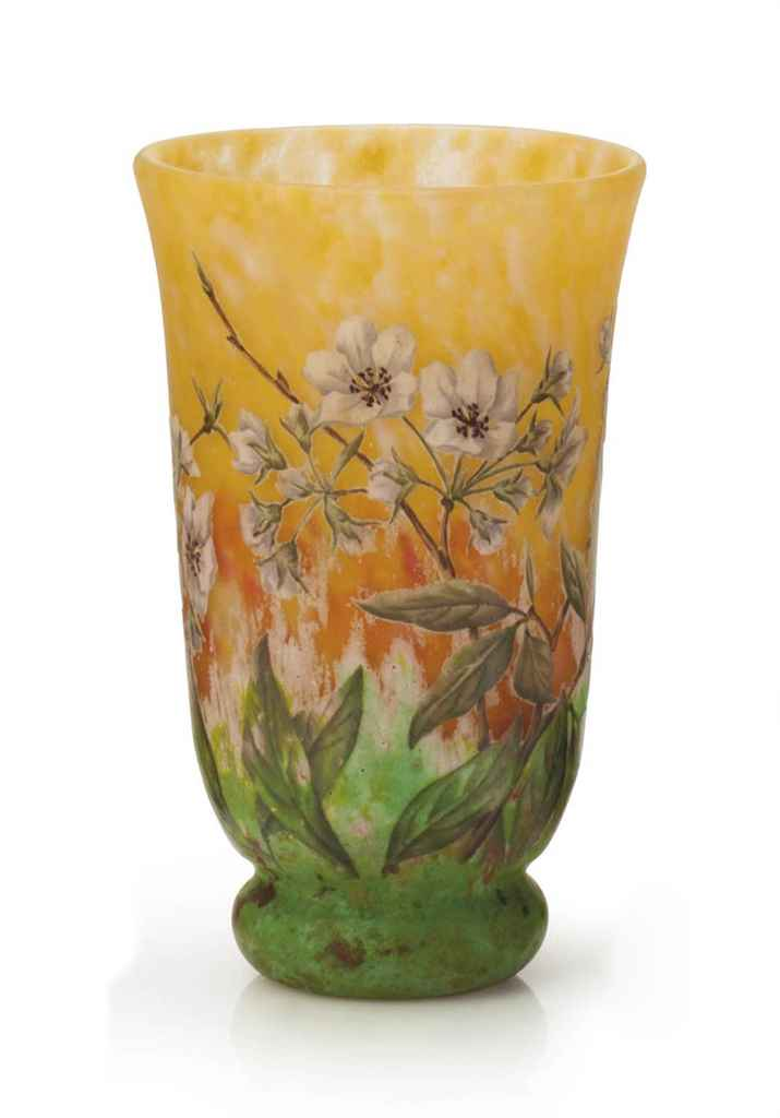 A FRENCH ENAMELED AND CAMEO GLASS VASE