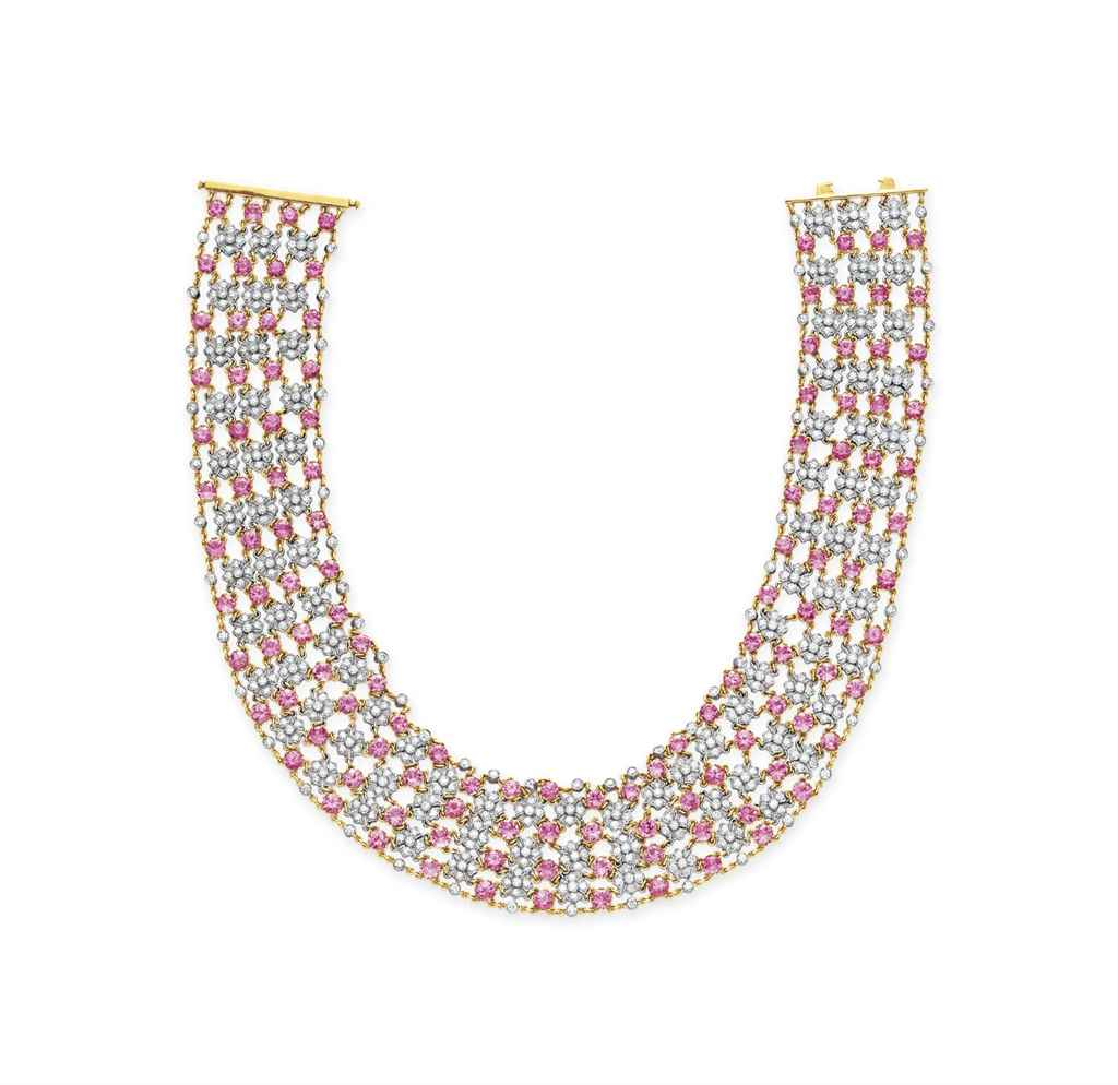 a diamond and pink sapphire necklace by tiffany amp co
