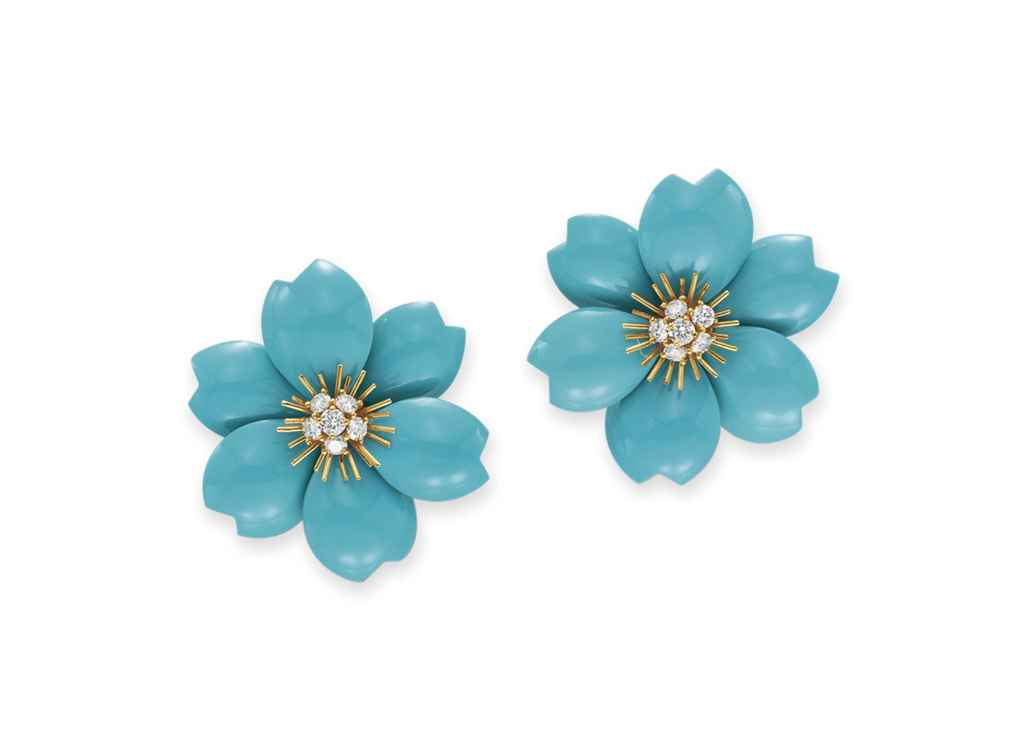 a pair of turquoise and diamond rose de noel ear clips. Black Bedroom Furniture Sets. Home Design Ideas