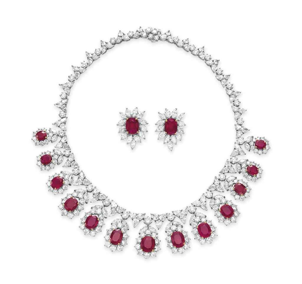 A SET OF RUBY AND DIAMOND JEWE