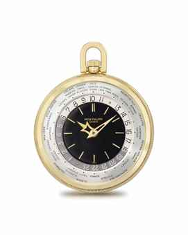 Patek Philippe. A very rare and attractive 18K gold openface World Time keyless lever watch with black dial