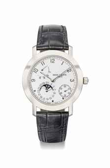 Patek Philippe. A fine 18K white gold automatic wristwatch with date, power reserve and moon phases