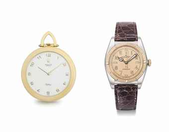 Rolex. A group of one stainless steel and pink gold wristwatch and one 18K gold pocket watch