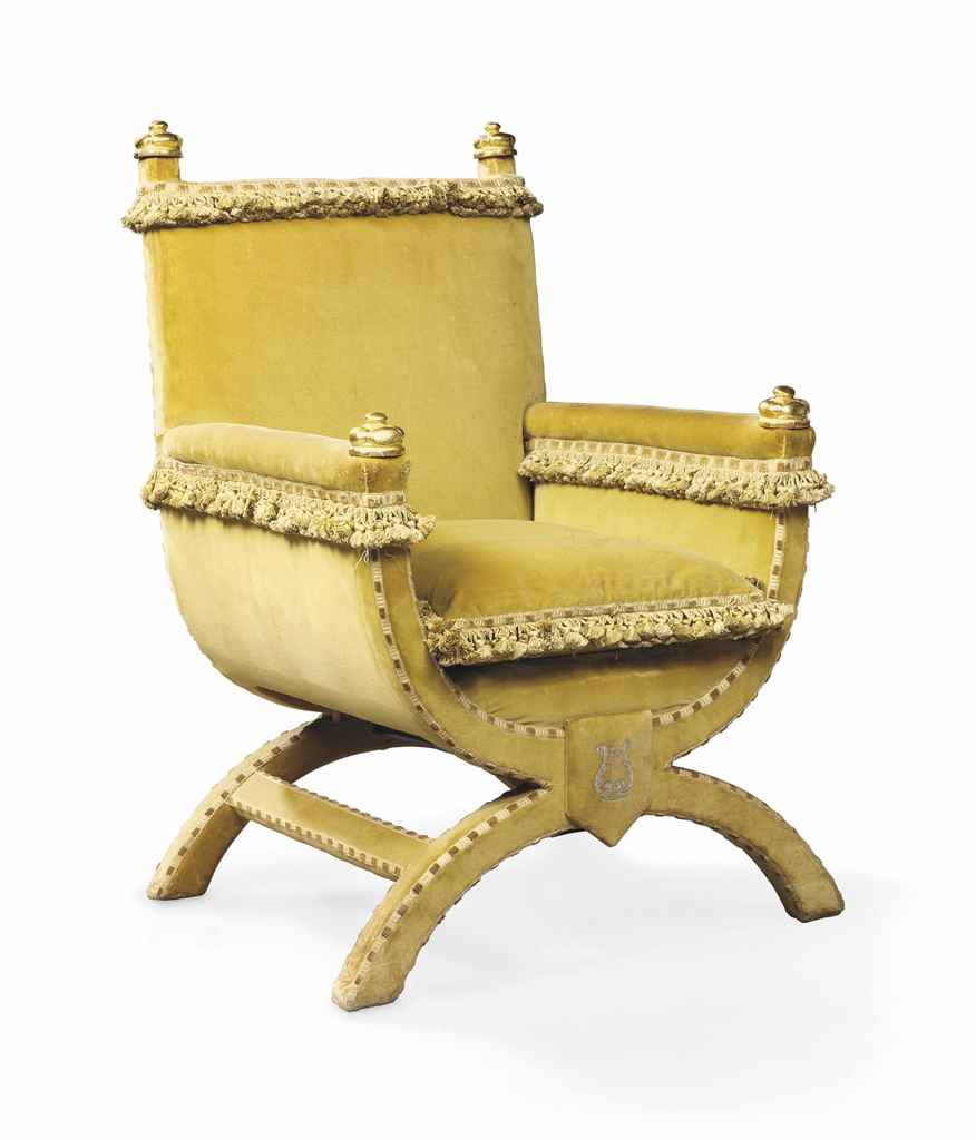 A SILK-VELVET THRONE CHAIR