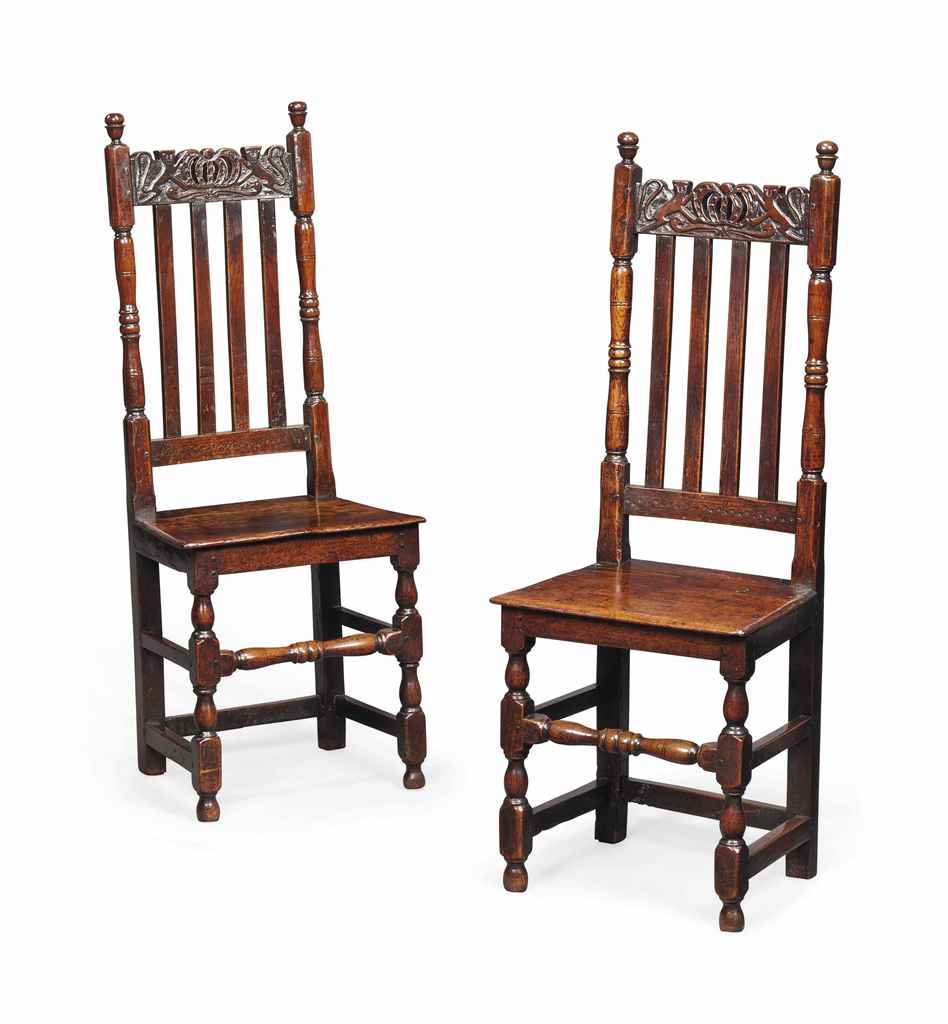 A PAIR OF CHARLES II OAK  CHAI