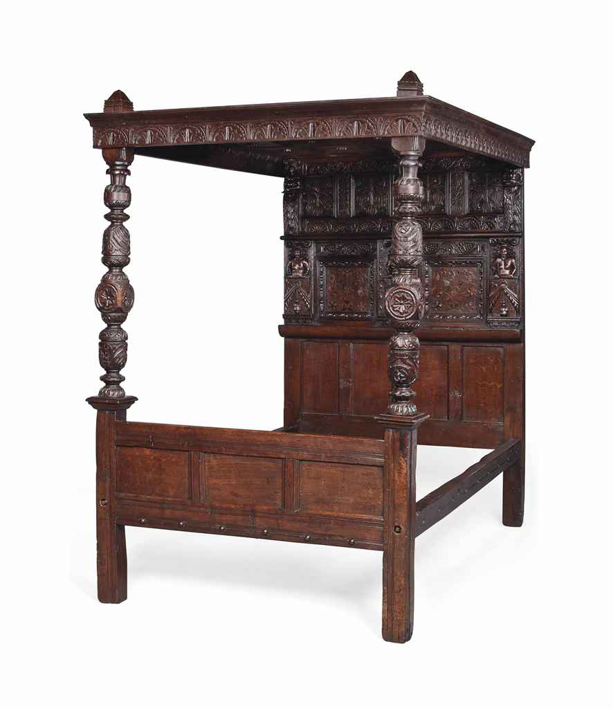 AN OAK AND INLAID TESTER BED