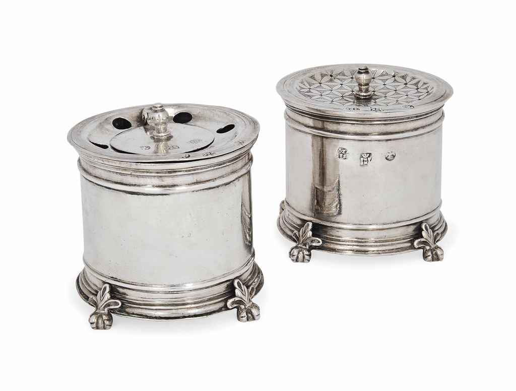 A MEXICAN SILVER INKWELL AND P