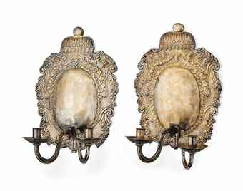 A PAIR OF ANGLO-DUTCH SILVERED BRASS WALL SCONCES | PROBABLY EARLY