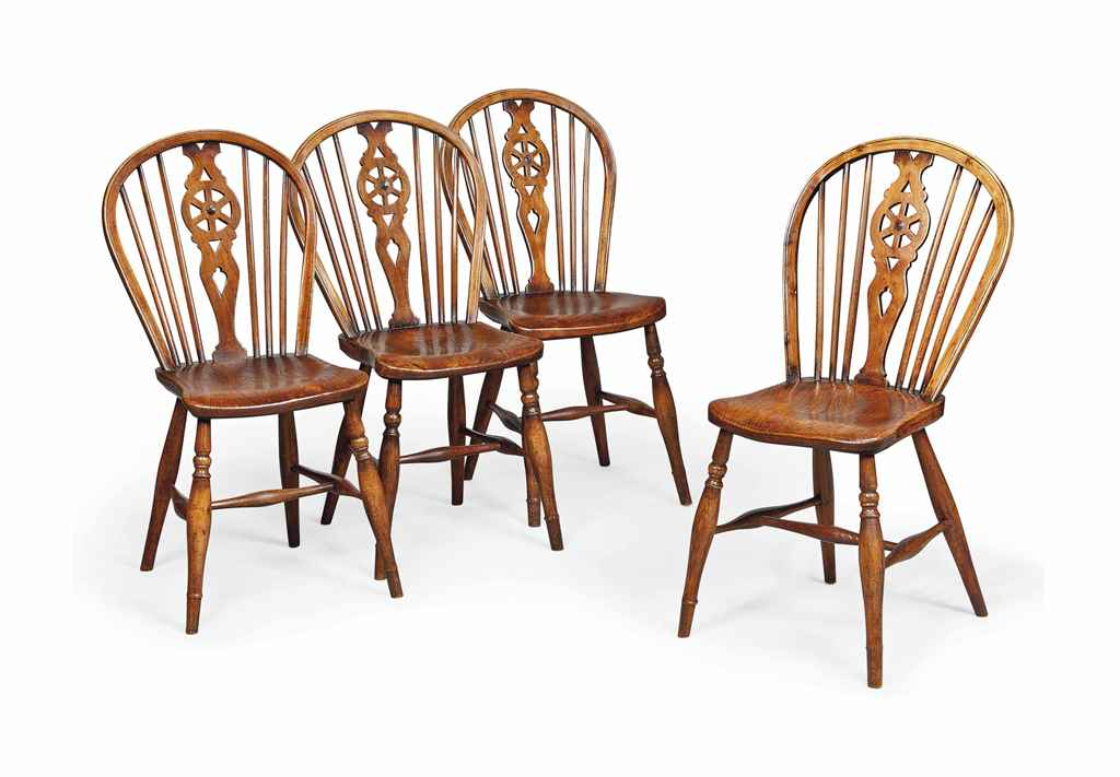 A SET OF FOUR VICTORIAN WHEEL-