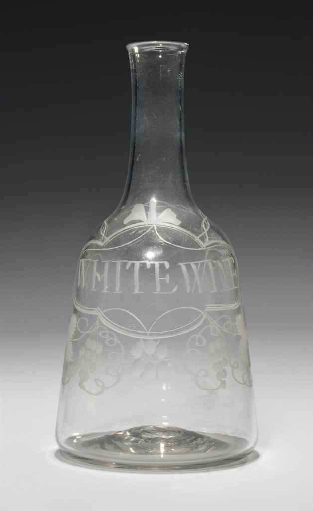 AN ENGRAVED GLASS WHITE WINE C