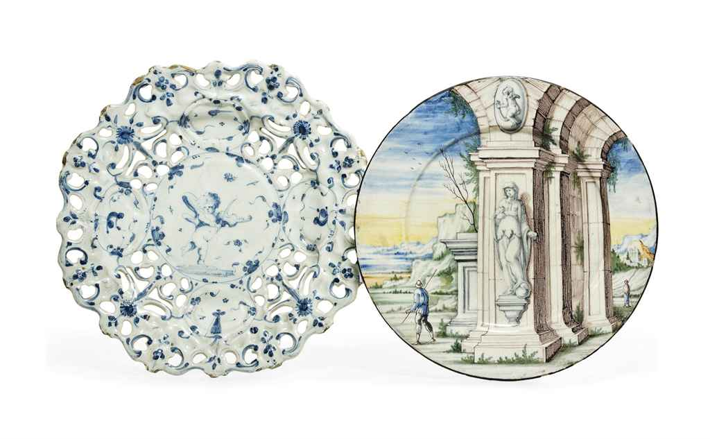 A PAVIA MAIOLICA PLATE AND A S
