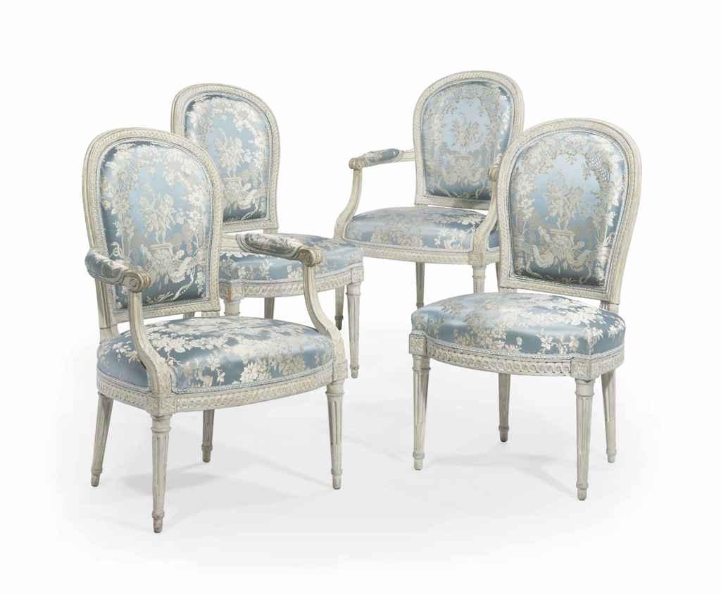 mobilier de salon en cabriolet d 39 epoque louis xvi estampille de henri jacob dernier quart du. Black Bedroom Furniture Sets. Home Design Ideas