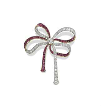A BELLE EPOQUE RUBY AND DIAMOND BROOCH