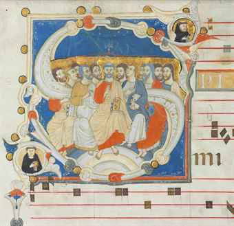 PENTECOST, historiated initial 'S' on a leaf from an ILLUMINATED ...