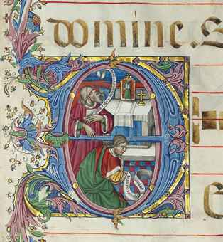THE PHARISEE AND THE PUBLICAN, historiated initial 'D' on a leaf from an ILLUMINATED MANUSCRIPT GRADUAL ON VELLUM