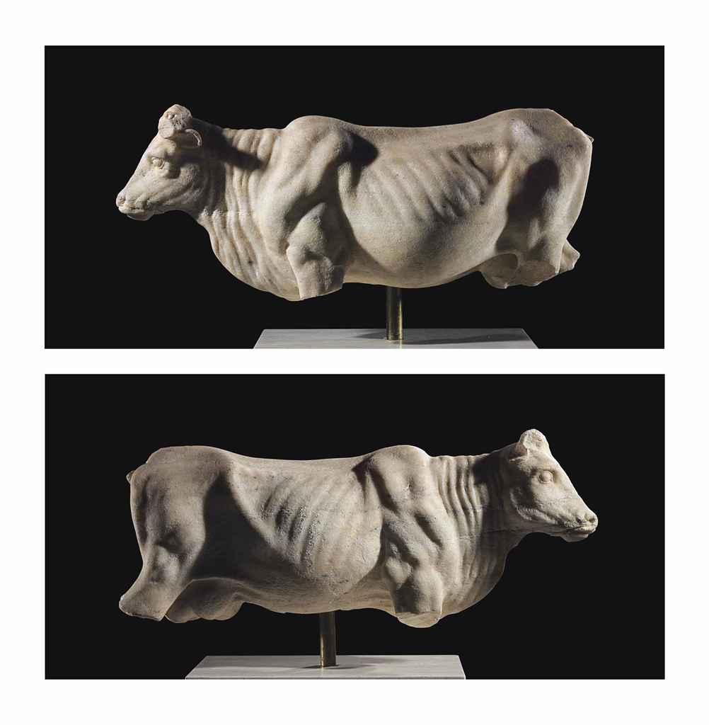 A ROMAN MARBLE COW