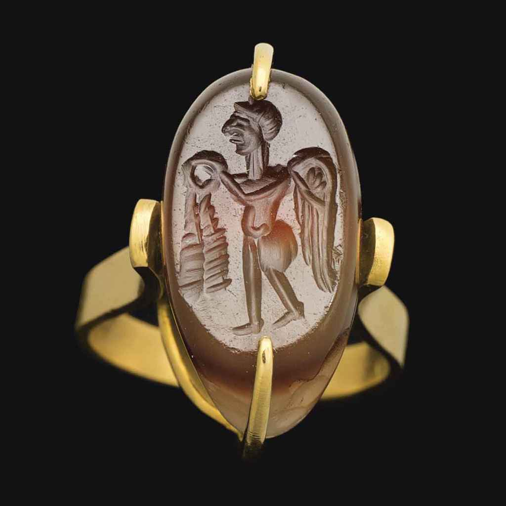 A SASANIAN BANDED AGATE ELLIPS