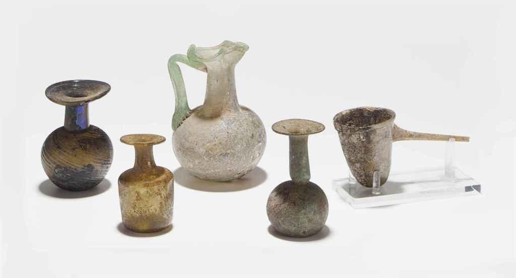 FIVE ROMAN GLASS VESSELS