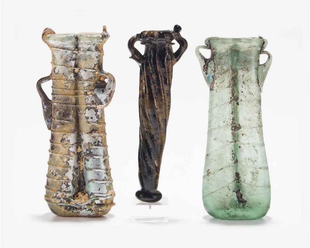 THREE BYZANTINE GLASS UNGUENTA