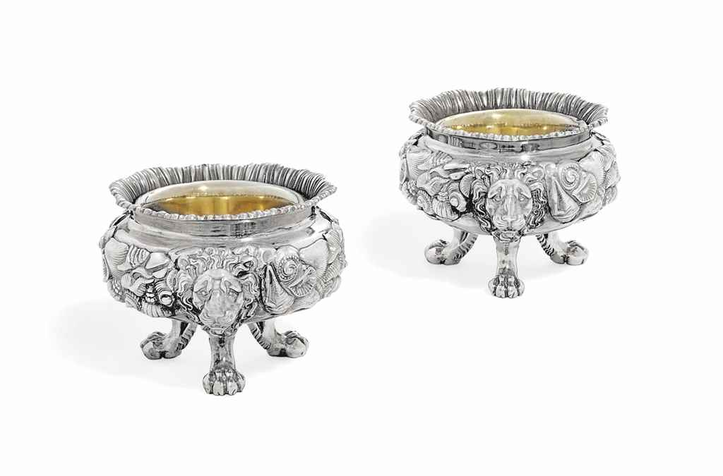 A PAIR OF FRENCH SILVER SALT-C
