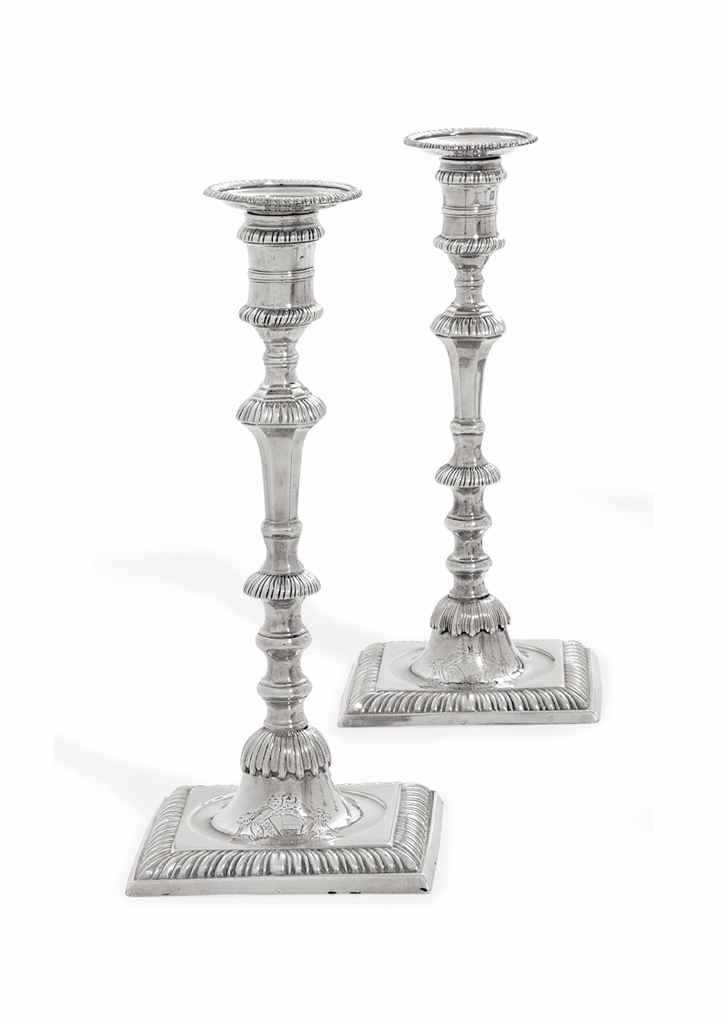 TWO GEORGE III SILVER CANDLEST