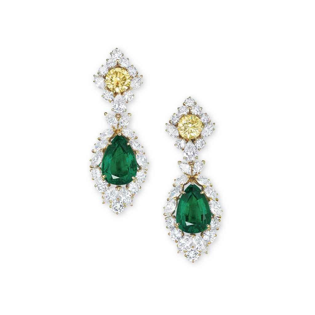 AN IMPORTANT PAIR OF EMERALD, COLOURED DIAMOND AND DIAMOND E...