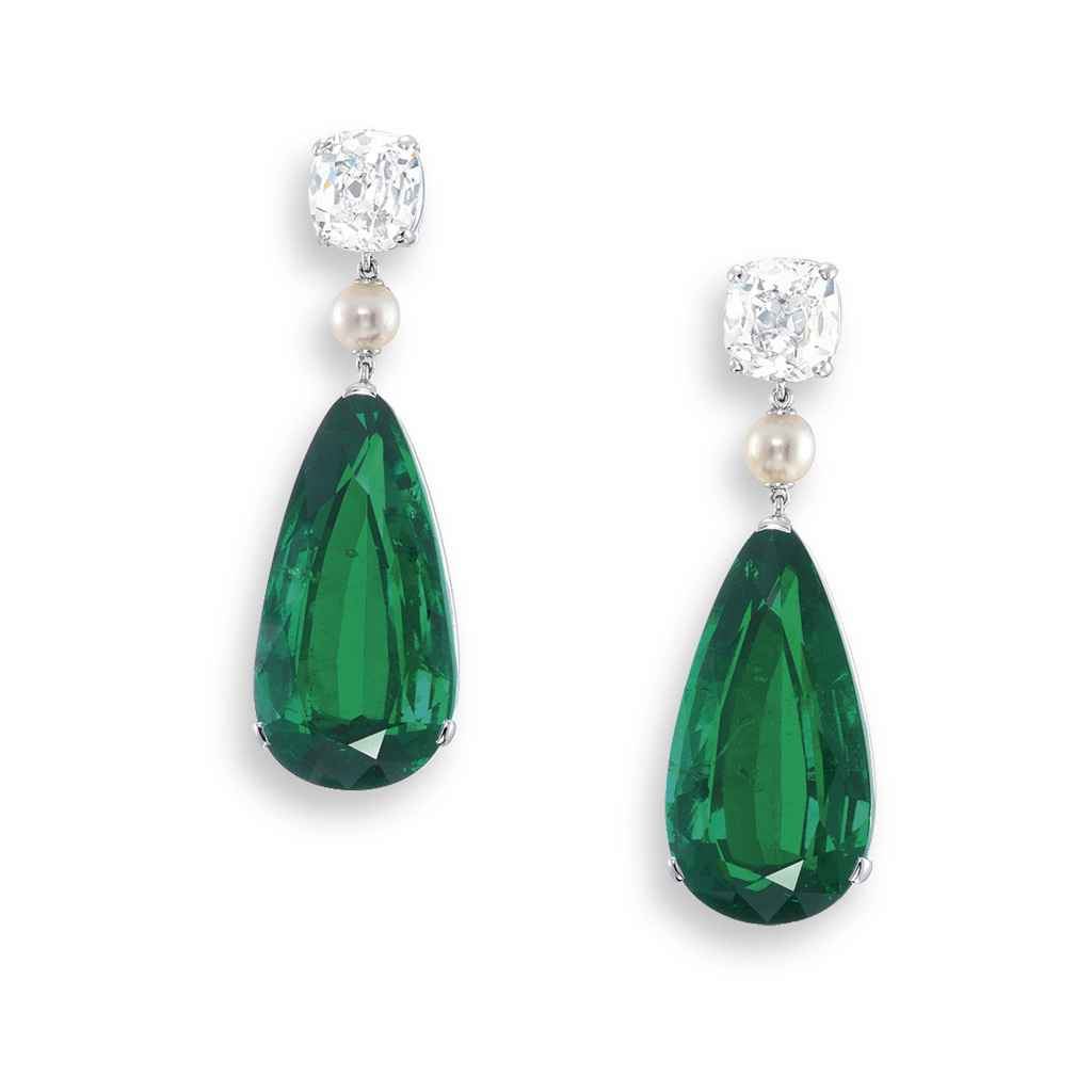 A MAGNIFICENT PAIR OF EMERALD,