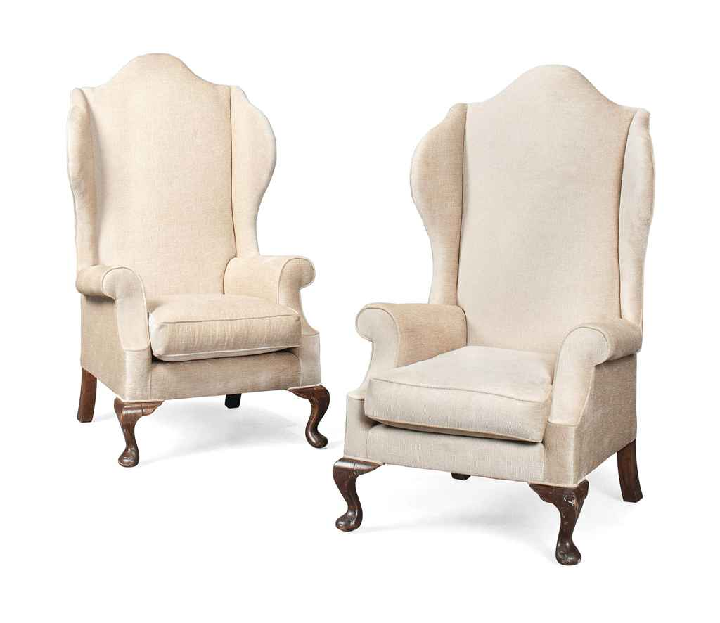 A PAIR OF WING ARMCHAIRS