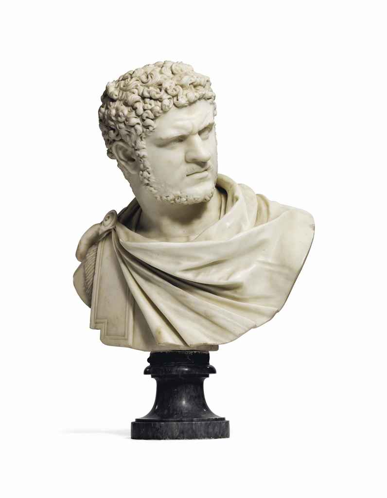 A CARVED MARBLE BUST OF THE EM