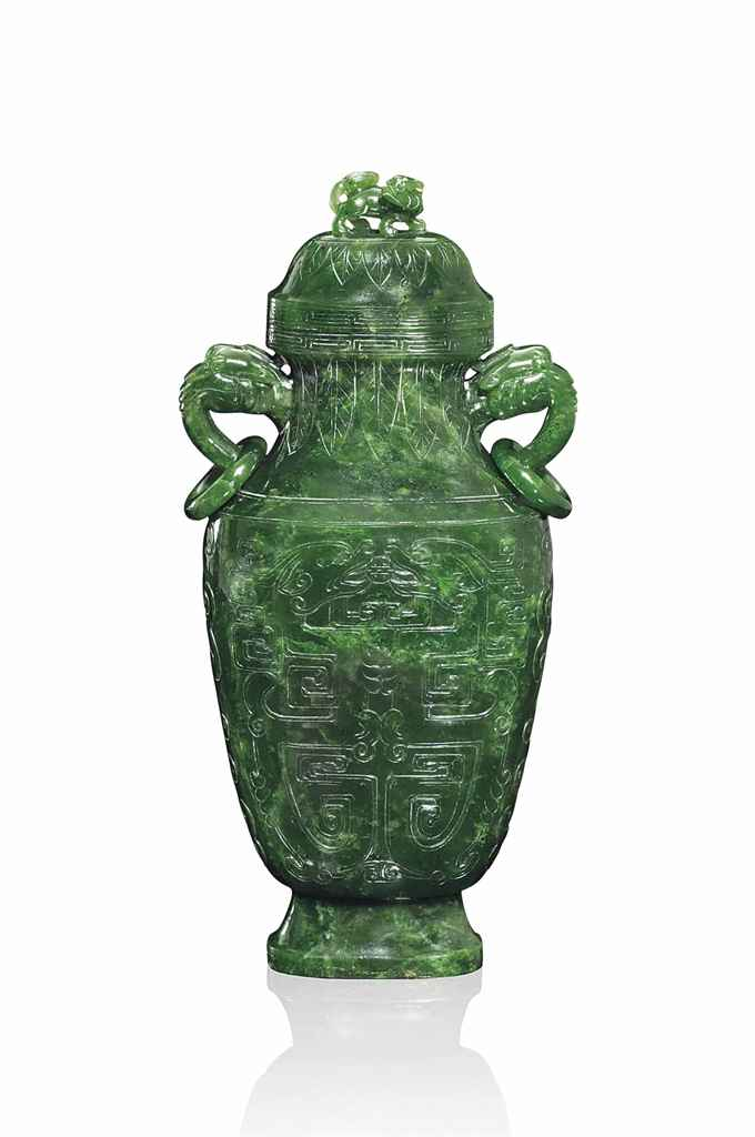 A CHINESE SPINACH GREEN JADE F