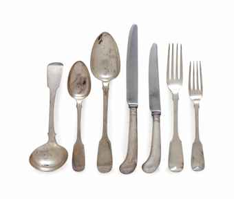 AN ASSEMBLED ENGLISH SILVER FLATWARE SERVICE, | VARIOUS MAKERS