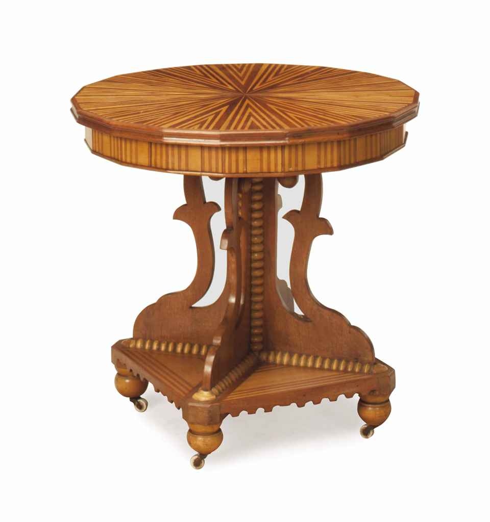 A victorian walnut and fruitwood center table 19th for Table th center